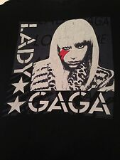 Lady Gaga Stars Red Lightning Bolt T shirt Tee Music Black Grey Cotton Adult  XL