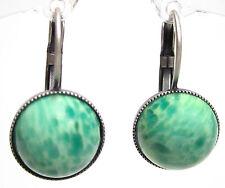 SoHo® Ohrhänger altsilber bohemia Glas 1960´s 12mm cabochons marmor hellgrün