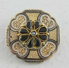 Antique 9K Gold Etched Floral Pin Brooch Jet Pendant Convertible