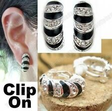 CLIP ON zebra HUGGIE half hoops CRYSTAL EARRINGS rhinestone BLACK silver pl hoop