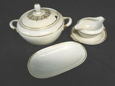 Tureen, gravy boat, oval plate KPM Royal Ivory GERMANY Marlboro - gold rim