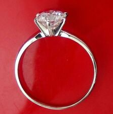 Solitaire Round cut Brilliant Engagement Ring Real 14k Solid White Gold