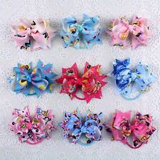 "New supply 9pc 3"" Girl Disney Cinderella Hair Bows Elastic Hair Bands-1969-10-18"