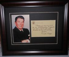 Ronald Reagan Signed Note Photo Framed Reprint
