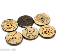 """30 Brown Mixed Pattern Coconut Shell 2Holes Sewing Buttons 25mm 1"""" B20389"""