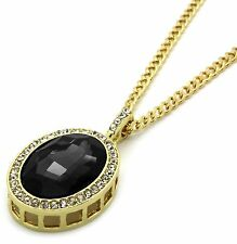 "Mens 14k Gold Plated Iced Out Black Cz Oval Pendant Hip-Hop 30"" Cuban Chain"
