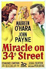 "MIRACLE ON 34TH STREET  MOVIE POSTER 12"" x 18""  - MAUREEN O'HARA JOHN PAYNE"