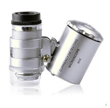 60x Handheld Mini Pocket Microscope Loupe Jeweler Magnifier With LED Light 8PMF