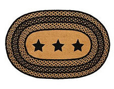 "New Primitive Country Kitchen Oval BRAIDED STAR RUG Black & Tan 20"" x 30"""