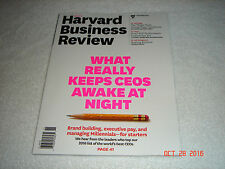 "Harvard Business Review ""WHAT REALLY KEEPS CEOS AWAKE AT NIGHT""    2016   NEW"