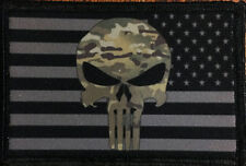 Multicam Punisher USA AMERICAN FLAG MORALE Patch Tactical ARMY Hook Military USA