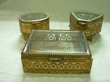 3 VINTAGE ORNATE GOLD ORMOLU METAL BEVELED GLASS TRINKET JEWELRY BOXES CASKETS