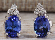 ESTATE 3.00CTW NATURAL BLUE TANZANITE AND DIAMOND EARRINGS 14K SOLID WHITE GOLD