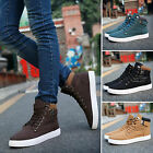 Men's Casual Lace up Trainers High Top Boots Canvas Walking Sneakers Flat Shoes