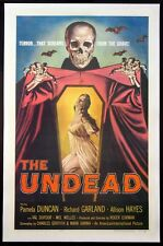 THE UNDEAD ALLISON HAYES ROGER CORMAN HORROR 1957 1-SHEET ON LINEN