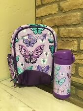 New Pottery Barn Kids Purple Butterfly Insulated Backpack Lunchbox/water Bottle