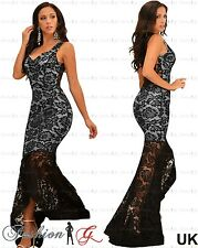 Womens Evening Dress Black Maxi Ball Gown Prom Party Long Floral Lace Size 8 10