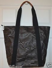 NEW BATH & BODY WORKS SPARKLE BLACK GOLD STRIPED TOTE CANVAS BAG SHINY PURSE