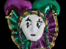 CLOWN  PLAY MUSICAL THEATER DRAMA MIME JESTER ORLEANS MARDI GRAS PIN BROOCH