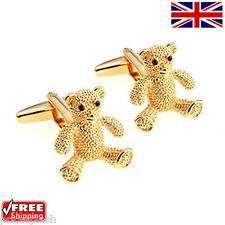 Cool Men's Women's Dress Gold Teddy Bear Cufflinks Novelty Design Cuff-links