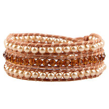 KELITCH Pearl Citrine Mixed 3 Wrap Bracelet on Natural Leather New women Jewelry