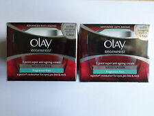 OLAY REGENERIST 3 POINT SUPER ANTI-AGEING MOISTURISER 2 x 50ml FRAGRANCE FREE