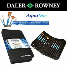 DALER ROWNEY AQUAFINE WATERCOLOUR BRUSH SET 10 SHORT HANDLE BRUSHES IN ZIP CASE