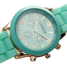 Geneva New Rubber Band Casual Sport Quartz Wrist Watch Vintage Reloj Relogio Uhr