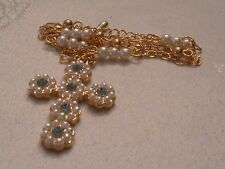JBK Jackie Kennedy Gold-Tone Blue Crystal and Pearl Cross Necklace