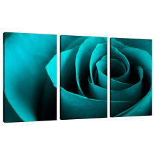 Set of 3 Teal Blue Floral Canvas Wall Art Pictures Bedroom Prints 3109
