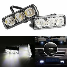 2pcs 3 LED DRL Daytime Running Lights Driving Fog Head Lamp Daylight Waterproof