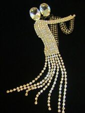 GORGEOUS LARGE BLACK & CLEAR RHINESTONE DANCING COUPLE BROOCH PIN Has Movement