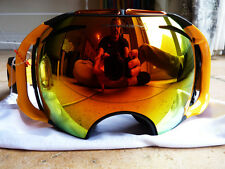 NEW!! OAKLEY Airbrake ski snowboard goggles 2 lens FIRE MIRROR orange rrp £220!!