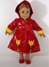 """DOLL RAINCOAT WITH HOOD SHOES  FOR AMERICAN GIRL OR 18 """" DOLLS OUTFIT CLOTHES"""