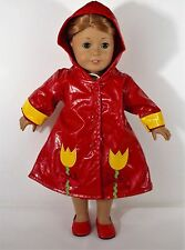 """FOR 18"""" AMERICAN GIRL DOLL RAINCOAT WITH HOOD AND SHOES, OUTFIT, CLOTHES"""