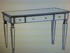 CMD58939 ANTIQUE SILVER MIRRORED DESK WITH DROP DOWN KEYBOARD