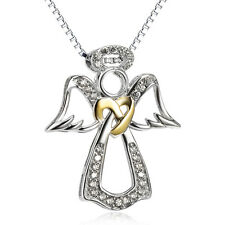 925 Sterling Silver CZ Fairytale Angel Golden Heart Charm Pendant Necklace