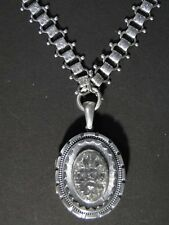 Antique English Victorian Sterling Silver Fancy Bookchain NECKLACE & LOCKET