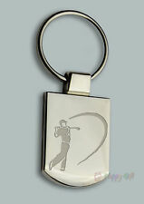 Engraved GOLF GOLFER  Design BOXED Personalised Free - Metal Key ring