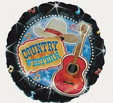 "18"" Country Western Guitar Music Cowboy Hat Nashville  Party Mylar Balloon"
