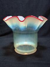 STUNNING VASELINE GLASS WITH CRANBERRY RIM TILLEY SHADE / SMALL OIL LAMP / GAS