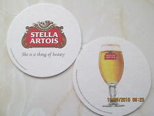 2 JUST ISSUED & CURRENT STELLA ARTOIS Circular BEER MATS Breweriana Ale Pub