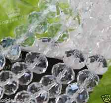 Wholesale!! 6X8MM CLEAR CRYSTAL GLASS FACETED RONDELLE BEADS 71PCS