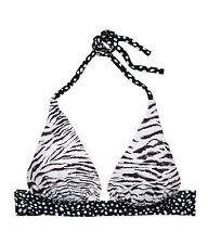 Victoria's Secret Swim Plunge Halter Push Up Bikini Top Medium Zebra Pebble Dot