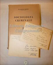 DIRITTO: Giovanni Lombardi, SOCIOLOGIA CRIMINALE 1942 Jovene + 2 Lettere Autore