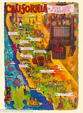 Wine Land California Wineries Map United States Travel Advertisement Art Poster