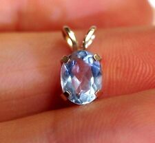 Brilliant .75CT Natural Blue Aquamarine Oval 14K Yellow Gold Solitaire Pendant