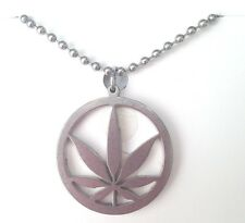 "CHILLY'S Pot Edition MARIJUANA Necklace Cannabis Leaf Weed 24"" Chain PENDANT NEW"