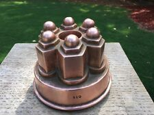 Antique 19th Century Copper Jelly Cake Mould Mold 6 Domes Tin Lined #110