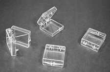 "30 Clear Plastic Hinged Storage Boxes ...... 1 1/4"" X 1 1/4"" X 1/2"" FREE SHIP!"
